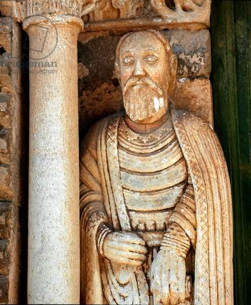 Representation of St. Paul Relief left of the central portal of the Basilica of Santa Maria Maggiore in Tuscani, Italy