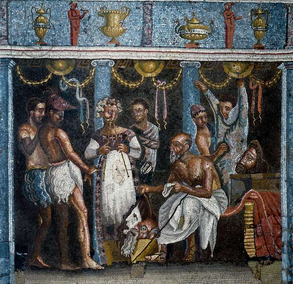 Roman art: preparatives for a satirical drama. Mosaic. 70 A.D. From Pompei, casa del poeta tragico. Dim. 58x59 cm Naples, Museo Archeologico Nazionale - Roman art: a theatrical troup peparing for a satirical drama. Mosaic. 70 AD. From the House of the Tagic Poet, Pompeii. 58 x 59 cm. National Archeological Museum (inv.10020), Naples, Italy