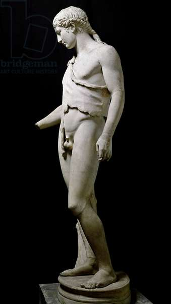 Statue representing Dionysos (Bacchus, Bacco). Marble sculpture from an original from the 4th century BC. From Villa Adriana. Rome Museo Nazionale Romano