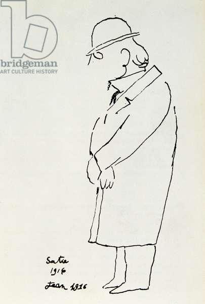 Cartoon portrait of composer Erik Satie (1866-1925). Drawing by Jean Cocteau (1889-1963) 1916. Private Collection