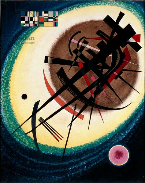 In the Bright Oval Painting by Vassily Kandinsky (or Wassily Kandinski or Kandinskij, 1866-1944) 1925 Madrid. Thyssen-Bornemisza (Thyssen Bornemisza) Museum of Art.