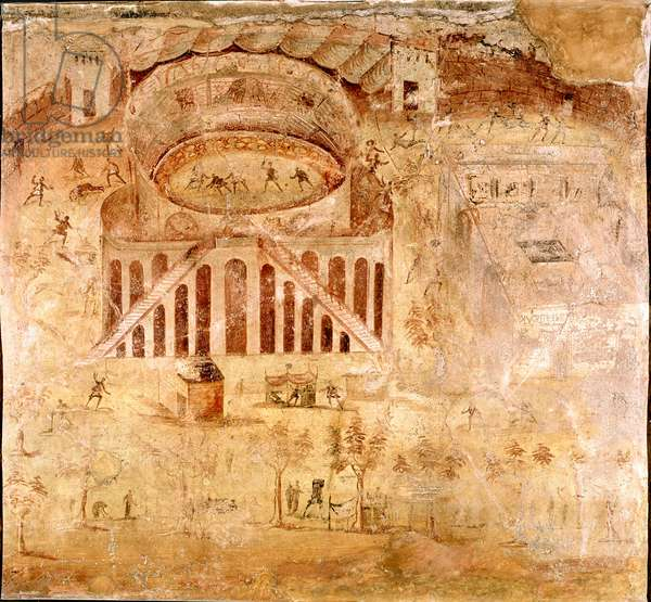 """Roman Art: """""""" Violent struggle between the inhabitants of Nocera and the Pompeians in the amphitheatre of Pompei in 59 AD"""""""" Detail of a fresco. 1st century AD. From the Pompei site. Naples, Museo Archeologico Nazionale"""