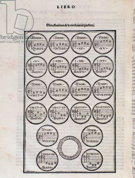 The perfect consonance table. Page from Toscanello in musica by Pietro Aron, 1562