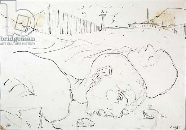 Buchenwald, 1945 (oil on paper)