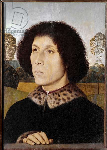 Portrait of an unknown man in a landscape - Painting by Hans Memling (1435/40-1494), oil on wood, 37x26 cm. Florence, Uffizi Gallery.
