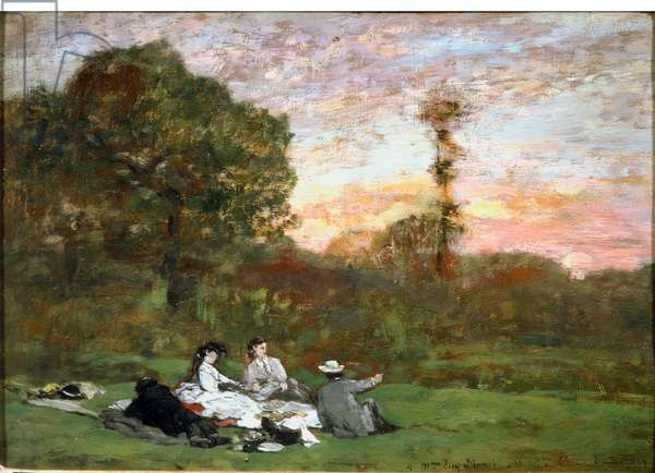 "Le breakfast sur l'herbe, 1866, Painting by Eugene Louis Boudin (1824-1898), Sun: 0,18x0,25 m Paris, Musee d'Orsay - """" The Luncheon on on the grass"""", 1866, Oil on wood by Eugene Louis Boudin (1824-1898), Sun: 0,18x0,25 m Paris, Musee d'Orsay"