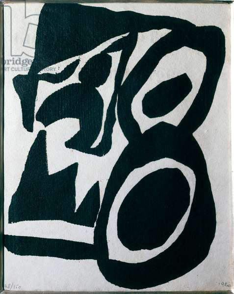 Woodcut for Tzara's Cinema Abstract Heart Calendar Xylography by Hans Arp (Jean Arp) (1887-1966) 1920 Sun 25x20.05 cm Private Collection