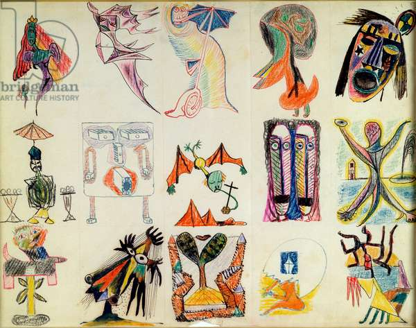 Studies of imaginary characters and masks, 1940