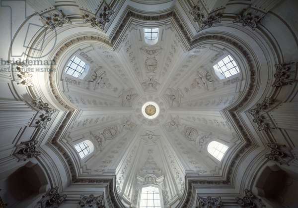Cupola of the Church of Saint Yves of Wisdom (Chiesa di Sant'Ivo alla Sapienza), Italian religious architecture in Baroque style, built between 1642 and 1660 by Francesco Borromini (1599-1667), on the site of the chapel of the Universalite of Rome, the Sapienza (Interior view of cupola of church of st Ivo alla sapienza, built by Francesco borromini, Rome, Rome, Rome, Italy)