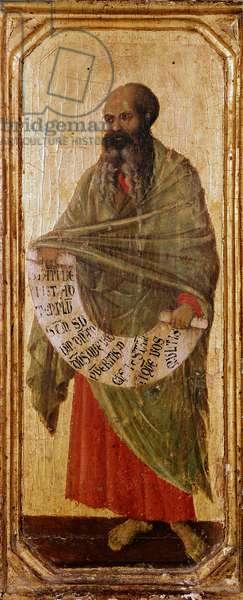 The prophete Malachie Detrempe on wood by Duccio di Buoninsegna (1255-1318/9) 1308-1311 Dim. 42,5x16 cm Siena, Museo del l 'Opera Metropolitana