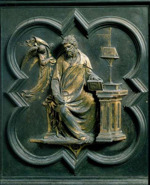 North Porte (called Porte de la Croix, to the North), exterior detail: Saint Mathieu. Bronze sculpture made by Lorenzo Ghiberti (1378-1455), 1424. Baptistere San Giovanni, Florence