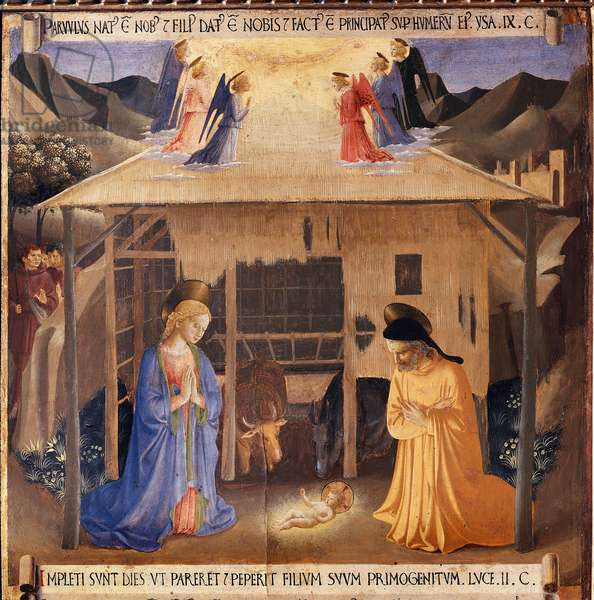 History of the life of Christ: the nativity - Painting from the Cabinet of Sacred Vases or the Cabinet of the Ex-Voto of Silver of the Church Santissima Annunziata (Armadio degli Argenti: life of christ, the nativity) Tempera on wood by Guido di Pietro (or Fra Giovanni da Fiesole) dit Fra Angelico ou il Beato (1400-1400-1455) and his, 1450-1453 - Museum of the Convent of San Marco, Florence (Museo di San Marco, Firenze) -