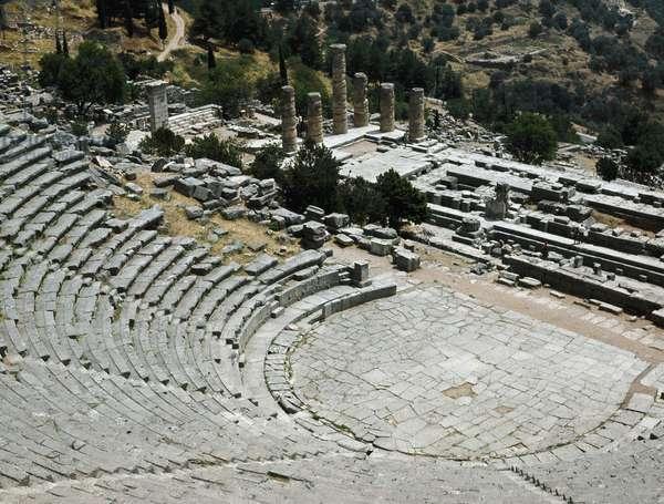 Greek art; view of the theatre of Delphi near the Temple of Apollo (6th-4th century BC). 4th century BC. Delphi Greece