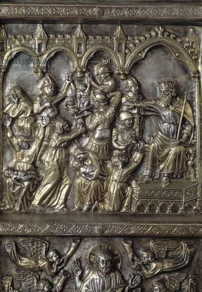 Silver Altar of Saint James the Major (Altare argenteo di San Jacopo or Silvered altar of St James) Detail of the antependium decore of episodes of the New Testament (massacre of the innocent) realized by Andrea di Jacopo d'Ognabene (1316) (Front section with stories of new testament) 1287-1456 Chapel of the Crucifix, Cathedrale San Zeno (Duomo) in Pistoia Italy
