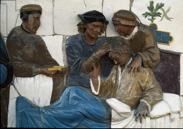 Visiting the Disabled, detail, 1526-28 (polychrome terracotta)