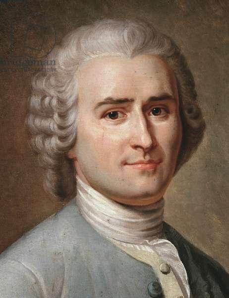 Portrait of Jean-Jacques Rousseau, Swiss philosopher, detail (pastel, 1874)