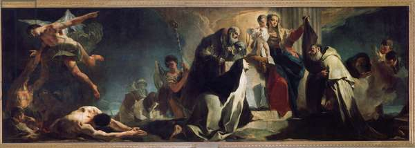 Our lady of the mount Carmel with st Teresa of Avila, John of the Cross and Souls in Purgatory Painting by Giambattista Tiepolo (1696-1770) Dim 210x650 cm Milan, Pinacoteca di Brera