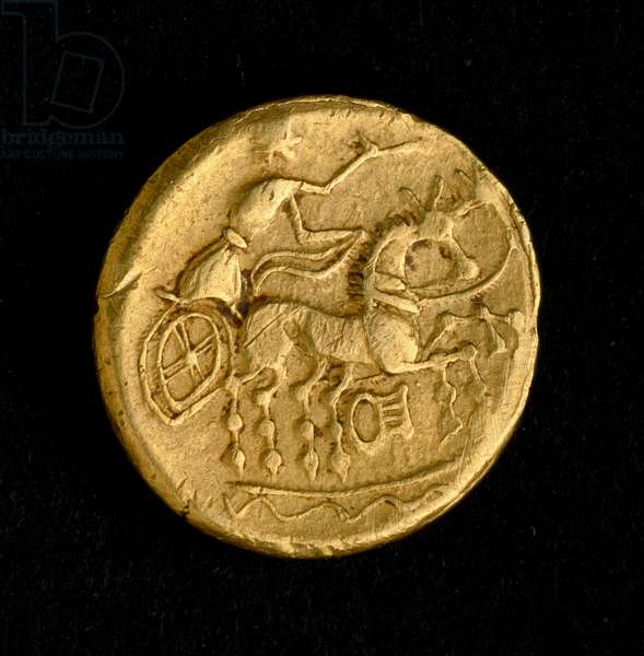 Statere of Sequani: man driving a chariot, 3d-2d century BC (Gold coin)