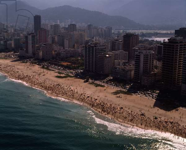 Aerial view of Ipanema beach in Rio de Janeiro, Brazil - Aerial view of Ipanema beach in Rio de janeiro, Brazil, 1983 - Photography