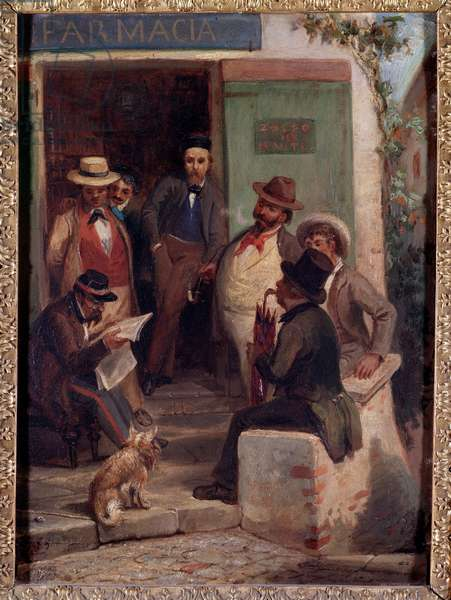 News from the war (News from the war) Meeting of unmobilized men on the square of a village, to read the news of the front - Painting by Casimiro Teja (1830-1897) Dim 46x33 cm Genes, Museo del Risorgimento, inv 883