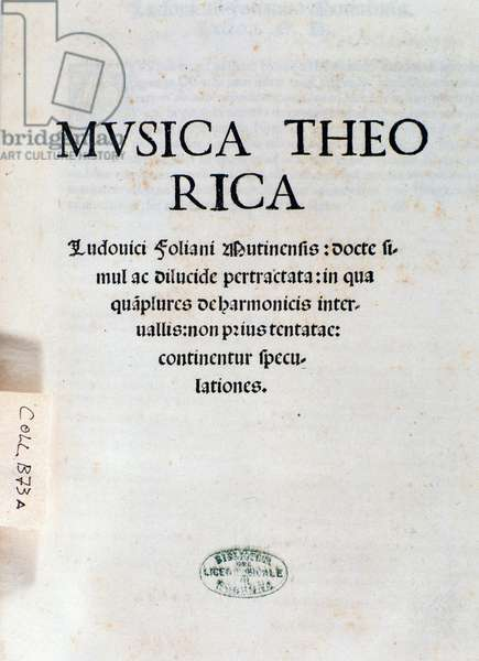 Frontispiece of Musica Theorica by Ludovico Foliani (engraving, 1529)