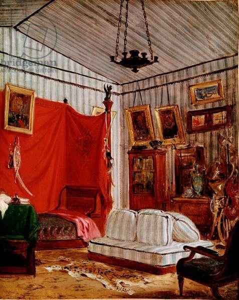 """Les apartments du Comte de Mornay, rue de Verneuil, Paris. - Study for """""""" Interieur with two portraits"""""""""""" 1834 approx. - Painting by Eugene Delacroix (1798-1863) - Paris, Musee du Louvre"""