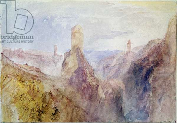 Landscape View of Hospenthal and the Saint Gotthard in Switzerland (?) Watercolour by Joseph Millord William Turner, 1840. London, british museum