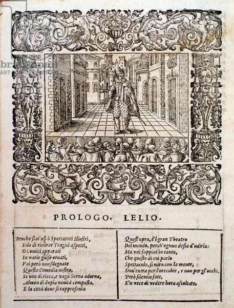 Page from Amfiparnaso madrigal comedy by Orazio Vecchi, 1598