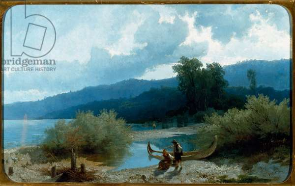 Landscape of Lake (Lakescape) Painting by Angelo Beccaria (1820-1897) 1862 Dim 55,5x90,3 cm Genes, Galleria d'Arte Moderna, inv 318