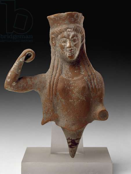 Earthenware bust from a statuette of an armed female deity,  from Paestum, southern urban sanctuary