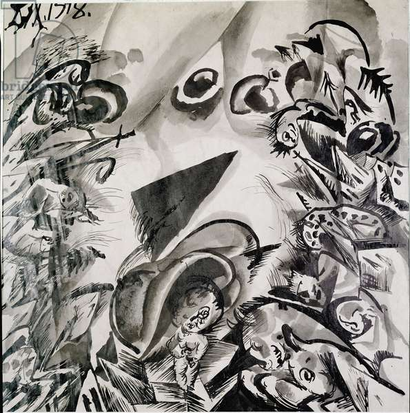 Birth drawing in ink of Otto Dix (1891-1969) 1918 Private collection