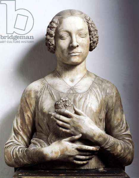 Woman with a bunch of flowers Marble sculpture by Andrea di Francesco di Cione dit il Verrocchio (1435-1488) 1475-1480 approx. Sun 58 cm Florence, Museo Nazionale del Bargello