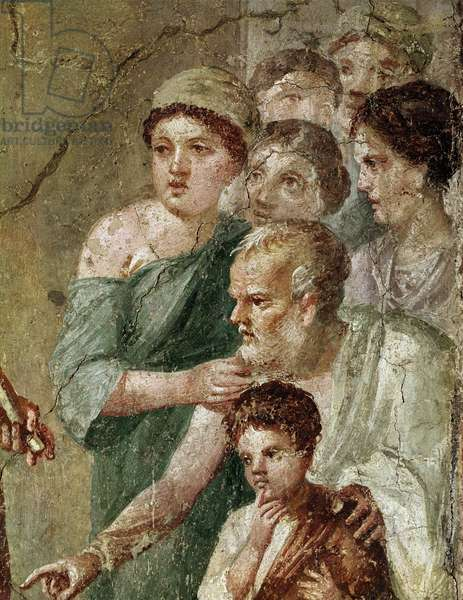 "Roman Art: """" Pan musician, among the nymphs"""" Detail (Roman art, Pan) fresco from Pompei, 1st century after JC (detail of fresco from Pompeii, 1st century AD) Naples, Museo Archeologico Nazionale, inv 111473"