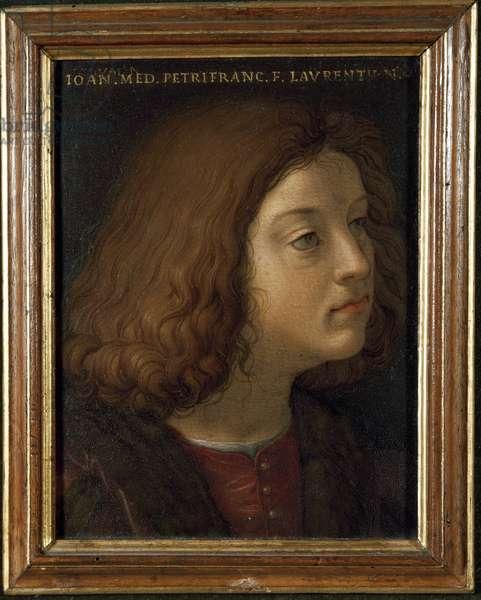 Portrait of Lorenzo di Pierfrancesco de 'Medici (Medicis) dit Lorenzo il Popolano (1463-1503) banker and politician Painting by Agnolo di Cosimo dit il Bronzino (1503-1572) Florence, Galleria degli Uffizi (Offices)