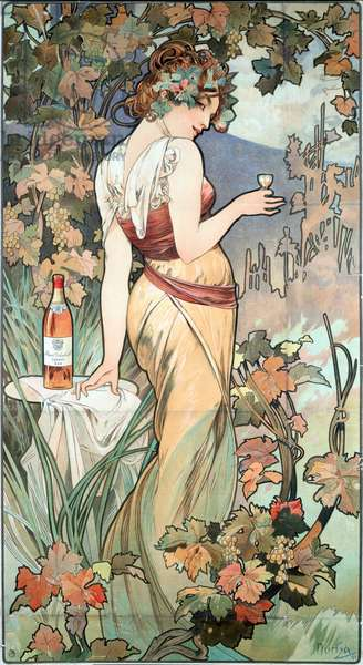 "Advertising poster by Alphonse Mucha (1860-1939) for the Cognac Bisquit, Dubouche, 1899 - Advertising poster by Alphonse Mucha for ""Cognac Bisquit, Dubouche"" "", 1899 Sun 61x32 cm Private collection"