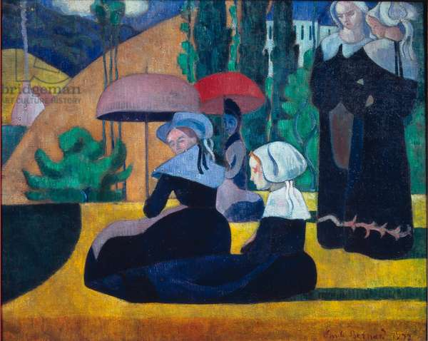 """Les bretonnes aux umbrelles, 1892, Painting by Emile Bernard (1868-1941), Sun: 0,81x1,00 m Paris, musee d'Orsay - """""""" Breton Women in the Shade"""", 1892, Oil on canvas by Emile Bernard (1868-1941), Sun: 0,81x1,00 m Paris, musee d'Orsay"""