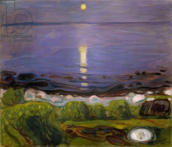Summer night on the beach Night landscape in Northern Europe, 1902 (oil on canvas)