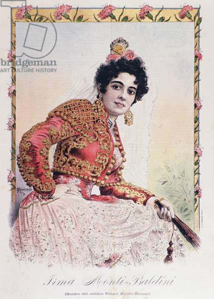"Costume of Irma Monti Baldini (Carmen) acting in the opera ""Carmen"" by Georges Bizet (colour litho)"