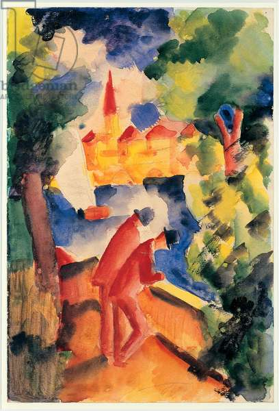Two Men Arm On The Railing Overlooking A Watercolour Lake by August Macke (1887-1914) 1914 Hannover, Sprengel Museum