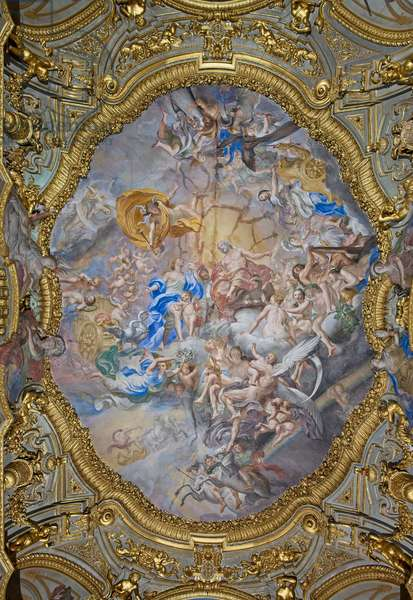 Oval of the vault of the Golden Gallery representing the Council of the Gods with Venus, mother of Aeneas, before Jupiter, 1734-44 (fresco)