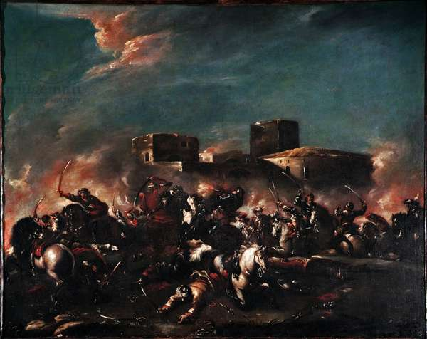 Battle Painting by Giovanni Antonio Guardi (1699-1760) 18th century Venice Museo Correr