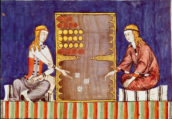 "Young women playing tric trac (tri-trac), ancestor of Backgammon - Miniature from the manuscript ""Libro de los juegos"""" by Alphonse X the Wise or the Savant (in Spanish, Alfonso X el Sabio, 1221-1284) - Royal Library of the Monastery of El Escorial, Spain - Women playing backgammon - Miniature from 'Libro De Los Juegos' (The Book of Games) by Alfonso X, called The Wise (1221-1284), 1283 - Royal Library of the Monastery of El Escorial, Spain"