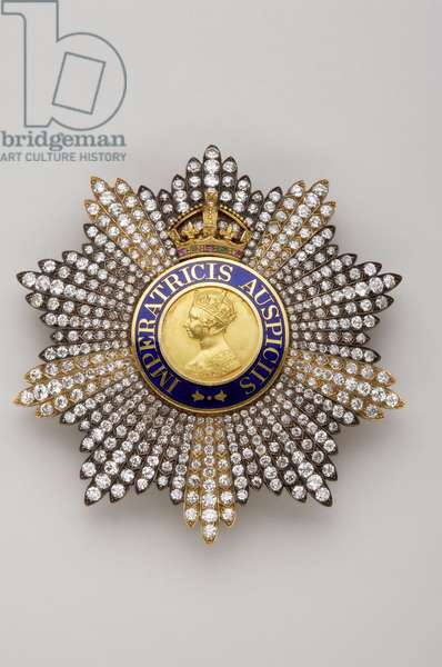 United Kingdom - Order of the Empire of India: knight's plaque grand commander - Made by Spink & Son (London) - End of XIX century - Gold, silver, diamonds and emals - D 8.2 cm; weight: 88 g - Private collection