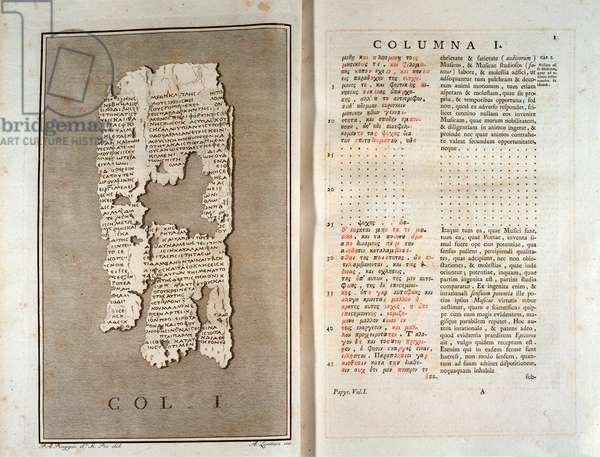 Reproduction of the papyrus of Herculanum of Philodema of Gadara (110-40 BC) from Herculanum, 1793 - Bologna, civico museo