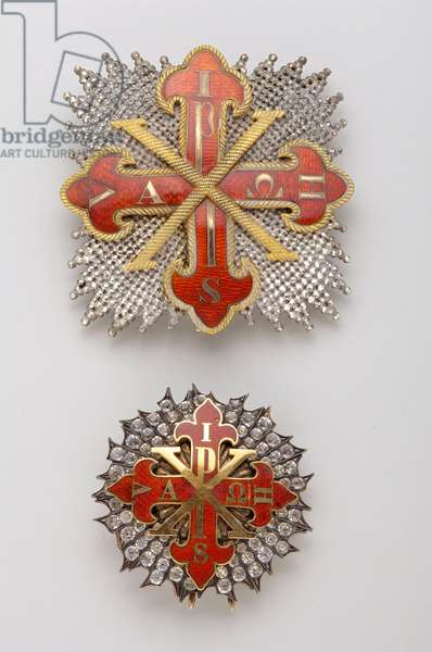 Kingdom of the Two Sicilies (Two Sicilies) - Constantine Order of St. George - High: plaque of knight grand cross, late XVIII century, Gold, silver and emals, D: 8.5 cm; weight: 60 g - Bottom: reduction of knight grand cross plate, 1800-1850, D: 5 cm; weight: 40 g - Private collection