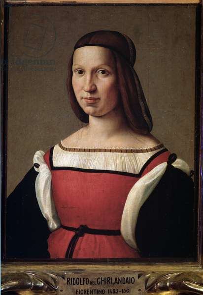 Portrait of a young woman People's woman dressed in a red dress with puffed sleeves - Portrait of a lady from the lower classes in a red dress with puffed sleeves - Painting by Ridolfo Ghirlandaio (1483-1561) 16th century Florence, Galleria Palatina