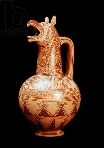 Greek Art: terracotta jug with a beak shaped like a griffon head from the island of Aegina, Greece. 675-650 BC. Dim. 41 cm London, British Museum