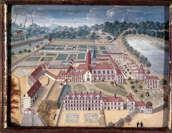 View over Abbey of Port-Royal-des-Champs (gouache, 18th century )