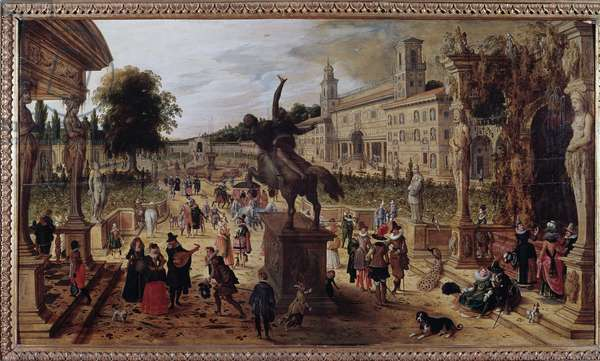 Landscape with villa medicis in Rome, Italy (Landscape with villa Medicis, Rome, Italy) Elegant walkers and musicians in the park - Painting by Sebastian Vrancx (1573-1647) 17th century - Naples Museo Nazionale di Capodimonte