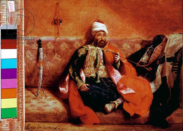 Turkish smoking on a couch. Painting by Eugene Delacroix (1798-1863), 1825. Oil on canvas. Dim: 24,8x30cm. Louvre Museum